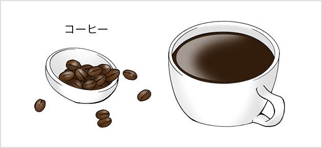コーヒー豆とカップに入ったコーヒー